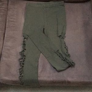 Olive Green Cut-and-Weave Leggings